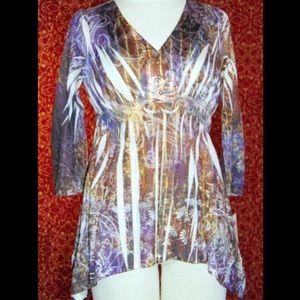 NWT UNITY WORLD WEAR 3/4 sleeve tunic blouse PM
